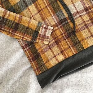 Promesa Tops - NEW Plaid Hoodie Mustard Yellow with Double Hood